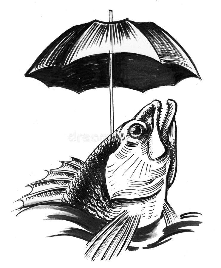 ryba pod parasolem ilustracja wektor