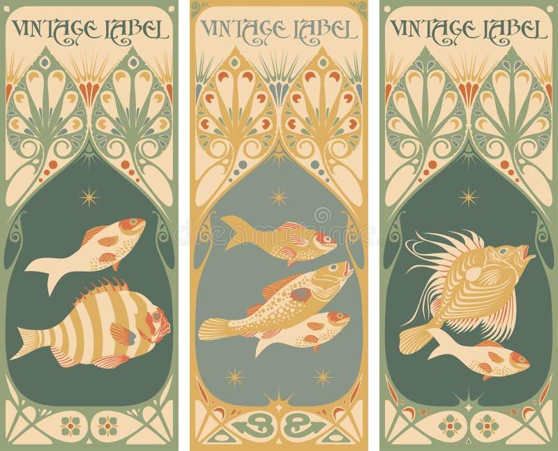 ryba przylepiać etykietkę rocznika ilustracja wektor