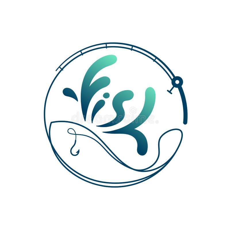 Ryba robić od połowu prącia ramy okręgu kształta, logo ikony projekta ustalonej zieleni i zmroku, - błękitna gradientowa kolor il royalty ilustracja