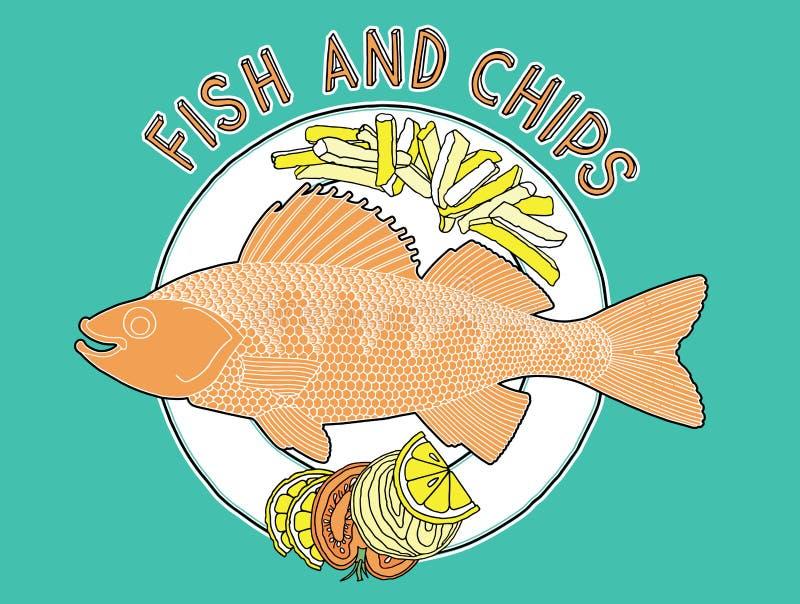 Ryba układów scalonych talerz 1 ilustracji