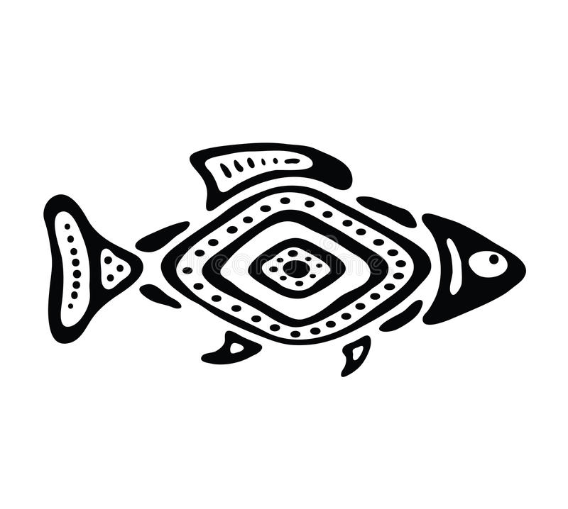 Ryba w rodzimym stylu, wektorowa ilustracja ilustracja wektor