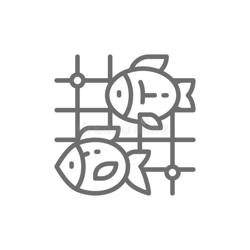 Ryba w sieci rybackiej linii ikonie ilustracji