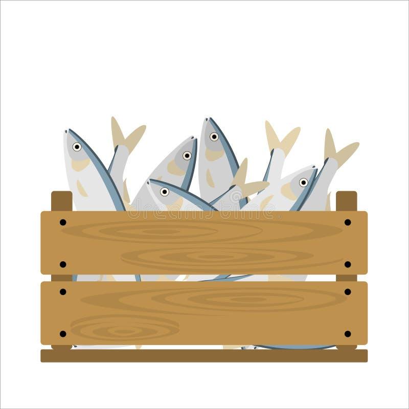 Ryba w skrzynce royalty ilustracja