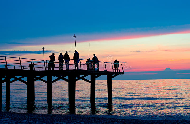 Rybacy na doku zdjęcie royalty free