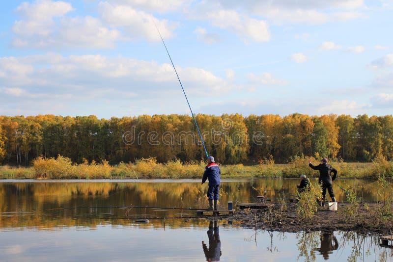 Rybacy na jeziornym połowie na ciepłym jesień dniu obraz royalty free