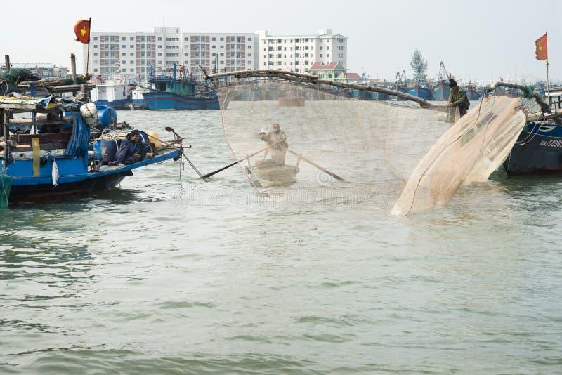 Rybacy Przynosi kosze Z garnelami Shoreside obraz royalty free