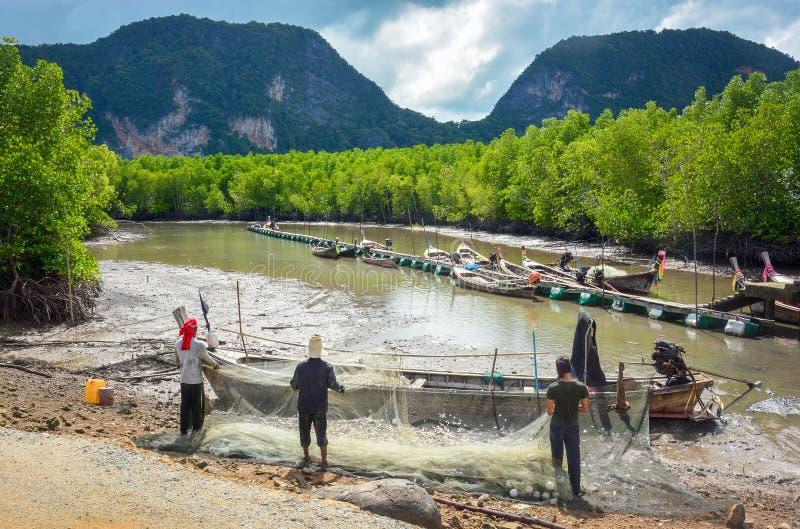 Rybacy trzymają małe ryby z sieci rybackiej w lesie namorzynowym, a długie łodzie ogonowe parkują przy mokradle w tle zdjęcia royalty free
