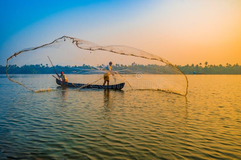 Rybacy w Kerala India obrazy stock