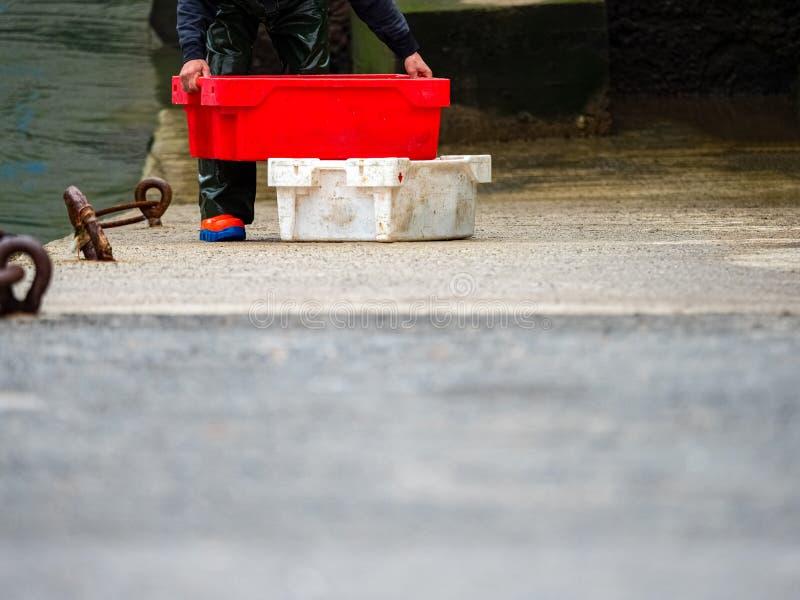 Rybaków pudełek ryba w porcie wioska w Baskijskim kraju rozładunek zdjęcie royalty free