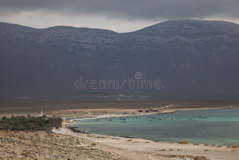Rybak łódź na wyspie Socotra obrazy royalty free