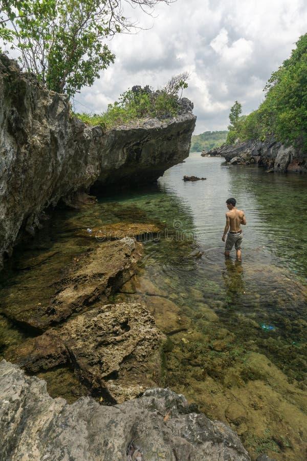 Rybak Łódkowaty Bawean, Gresik, Indonezja fotografia stock