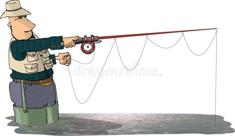 Download Rybak fly ilustracji. Ilustracja złożonej z kamizelka, brodziec - 47303