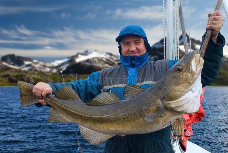 Rybak na łodzi blisko Lofoten wyspy obraz royalty free