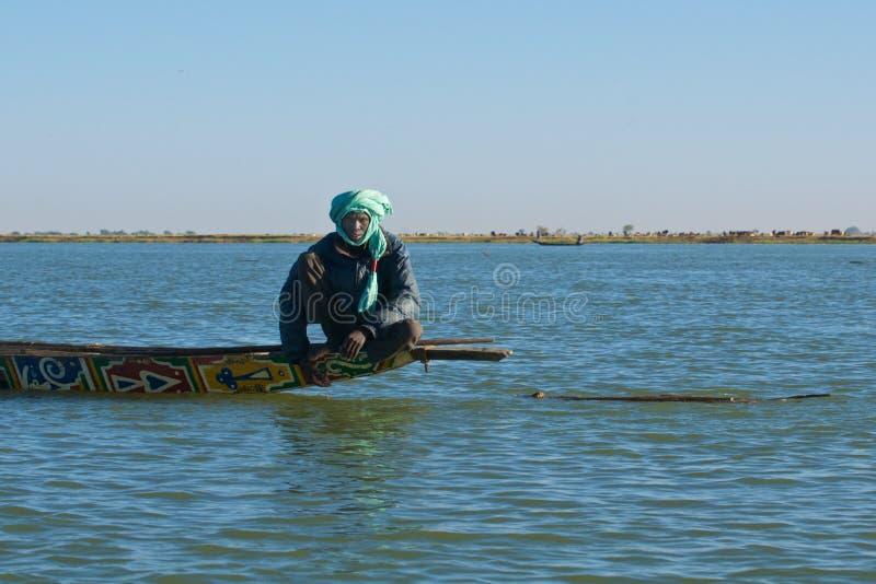 Rybak na Niger rzece fotografia stock