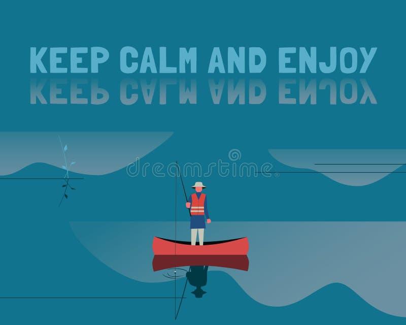 Rybak w łodzi na spokój wody koloru płaskim wektorze royalty ilustracja
