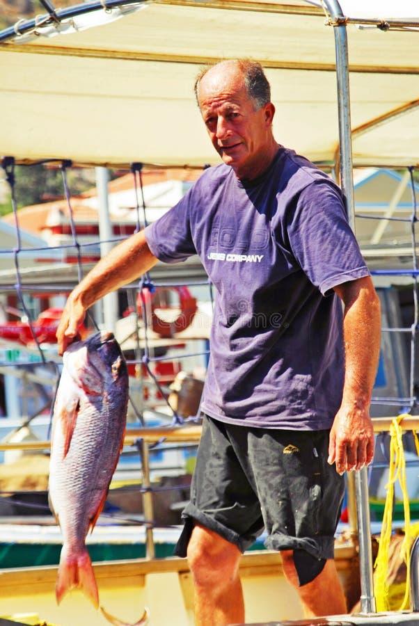 Rybak w Kastellorizo wyspie, Grecja zdjęcie stock