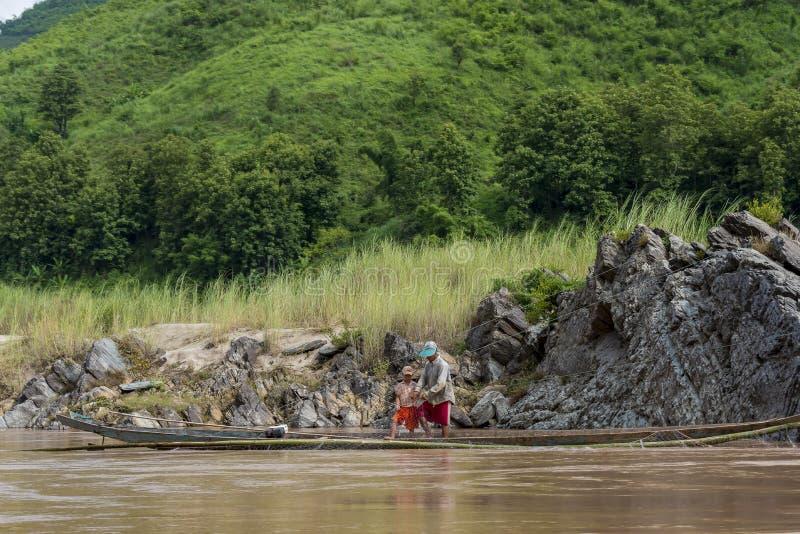 Rybaka Mekong rzeka, Laos obraz royalty free