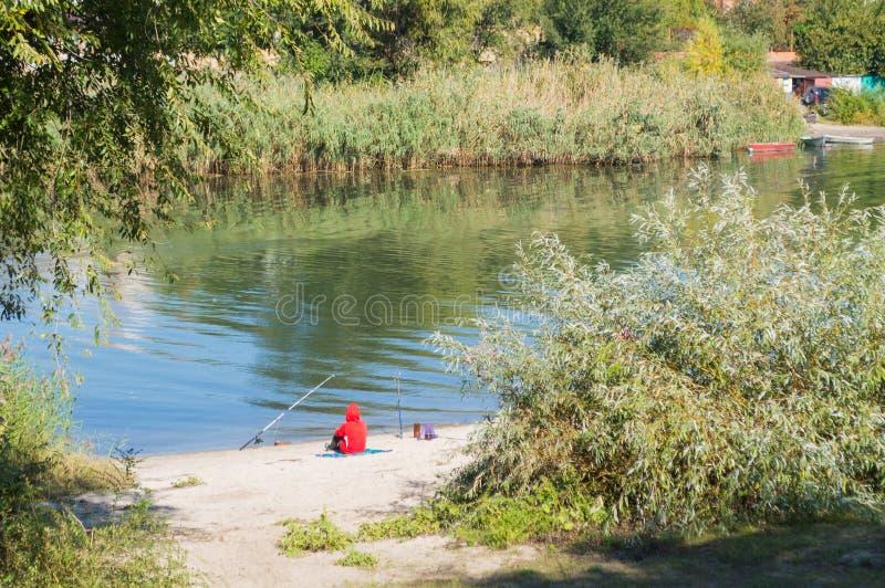 Rybaka połów i miejsca siedzące zdjęcie stock