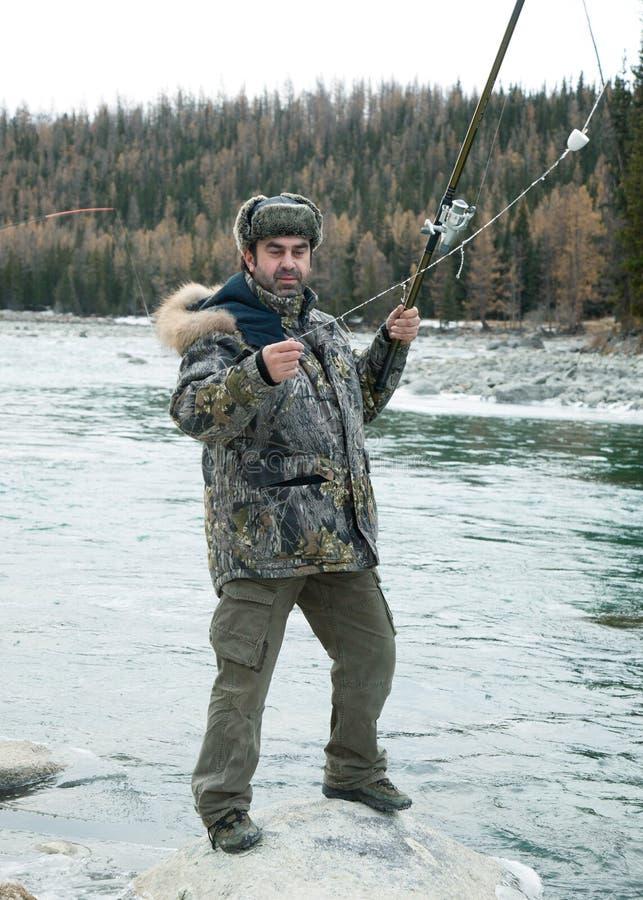 rybaka rzeki zima obraz royalty free