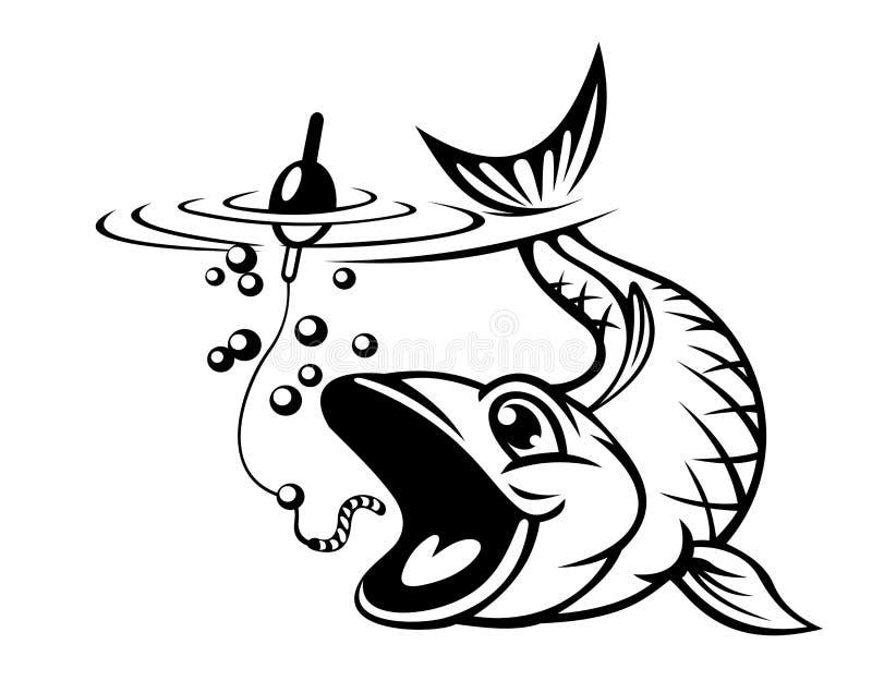Rybi łapanie haczyk ilustracja wektor