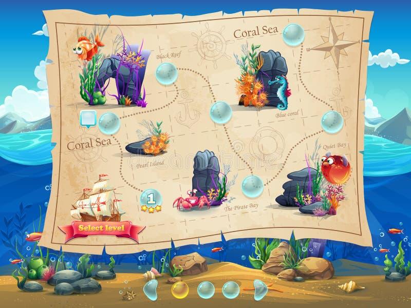 Rybi świat - Ilustracyjni przykładu ekranu poziomy, gemowy interfejs royalty ilustracja