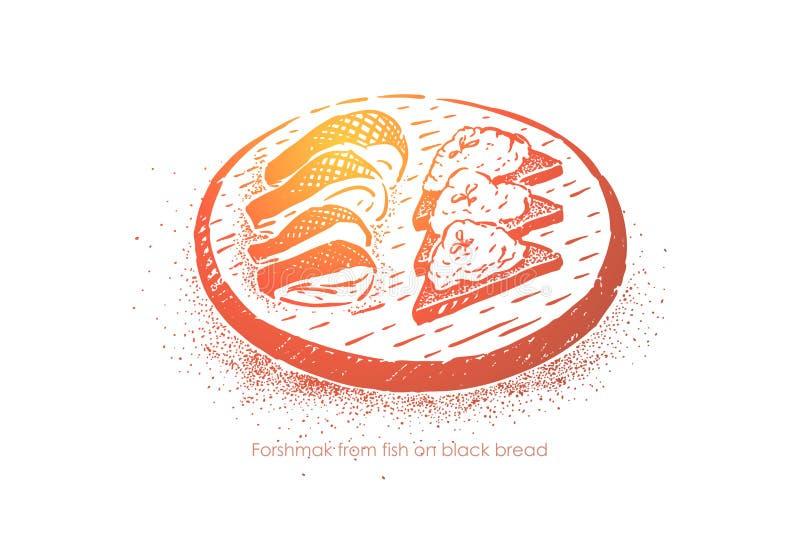 Rybi forshmak na czarnym chlebie, żydowskiej przekąsce, śledziu piec z grulą, kwaśnej śmietance, cebuli i pieprzu, ilustracji