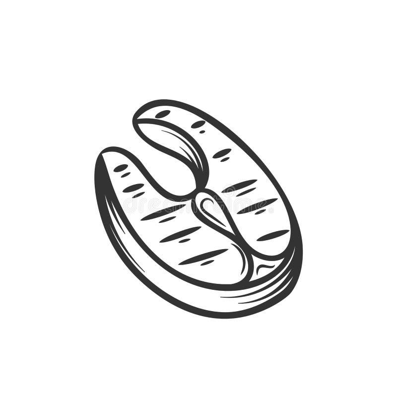 Rybi grill, kontur ilustracja wektor