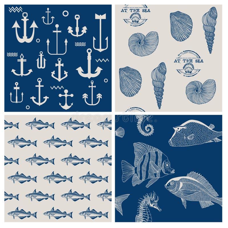 Rybi i Morski tło set ilustracji