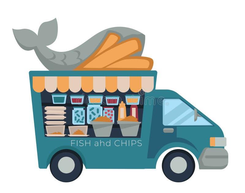 Rybi i układy scaleni fasta food ciężarówki odosobniony pojazd ilustracja wektor