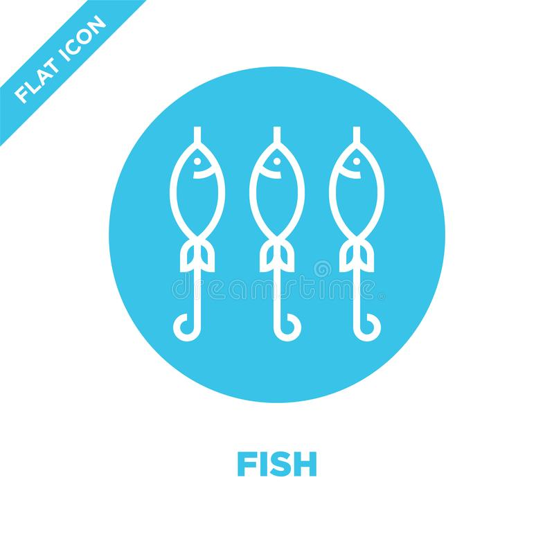 rybi ikona wektor od bbq i grilla kolekcji Cienka linii ryby konturu ikony wektoru ilustracja Liniowy symbol dla używa na sieci i ilustracja wektor