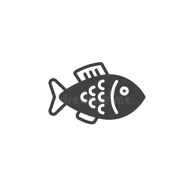 Rybi ikona wektor, wypełniający mieszkanie znak, stały piktogram odizolowywający na bielu royalty ilustracja