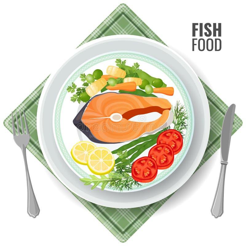 Rybi jedzenie piec łososiowego mięsa ustaloną wektorową ilustrację ilustracja wektor