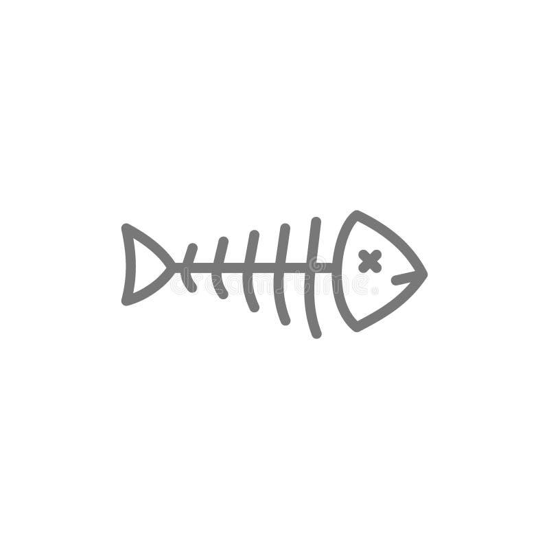 Rybi kościec, fishbone kreskowa ikona royalty ilustracja