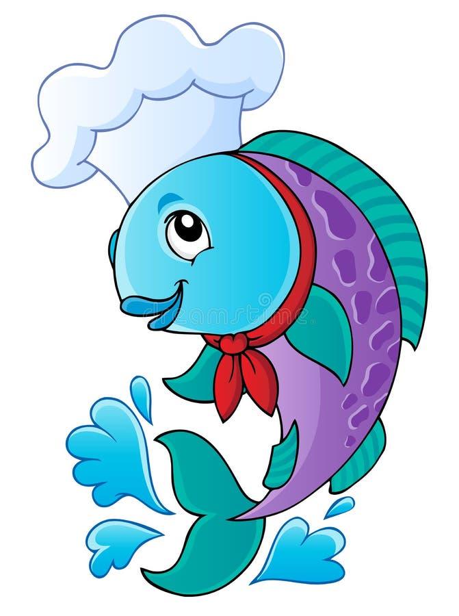 Rybi kreskówka szef kuchni ilustracji