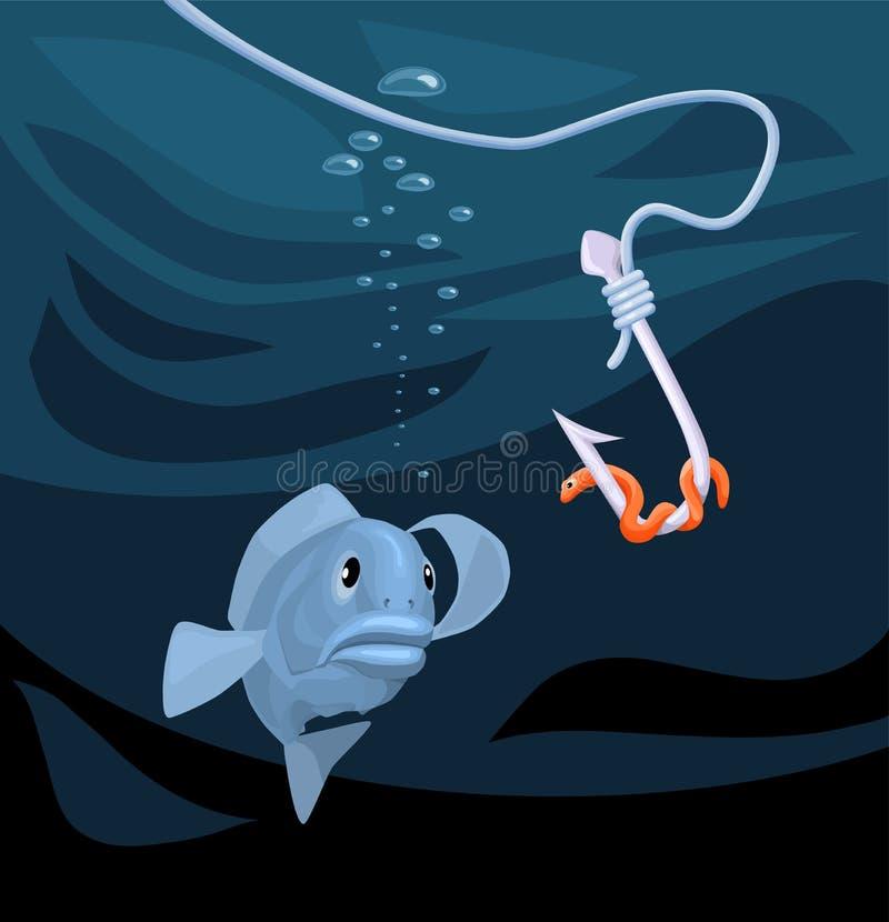 Rybi ono wpatruje się przy haczykiem z dżdżownicą ilustracja wektor