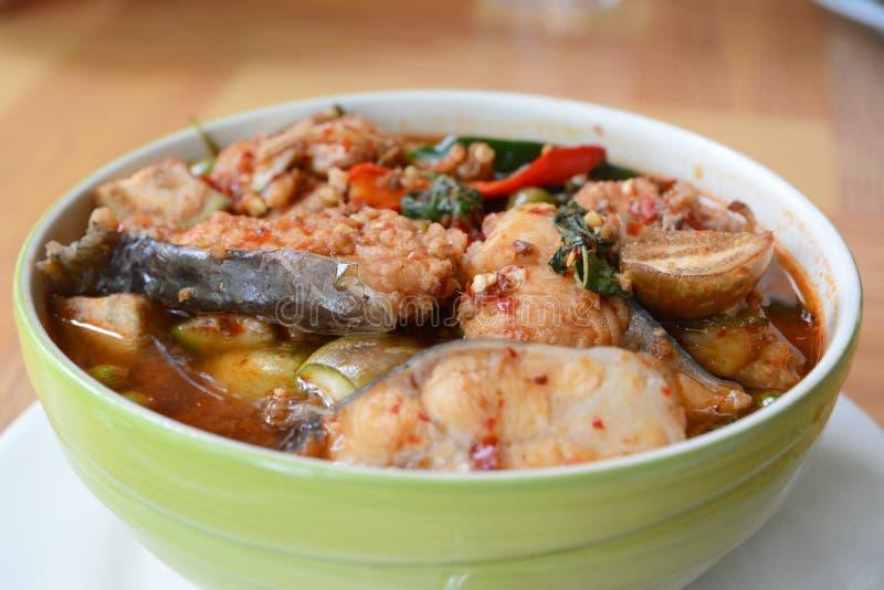 Rybi polędwicowy w wysuszonym czerwonym currym fotografia royalty free