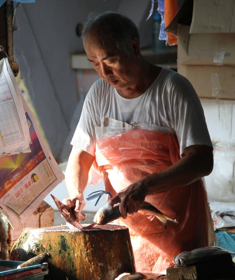Rybi sprzedawca w rynku obraz royalty free