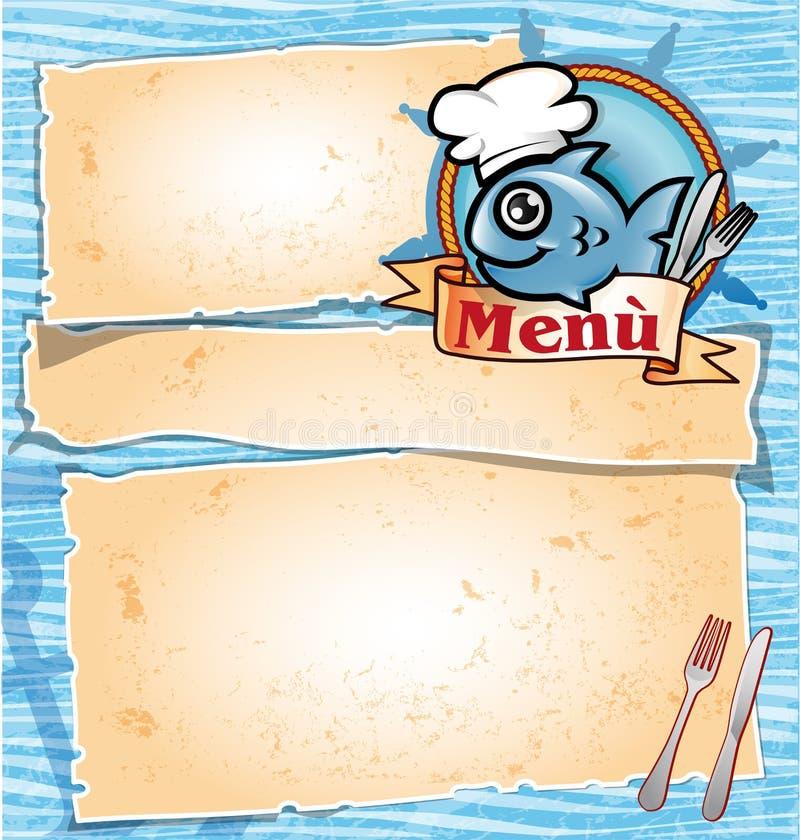 Rybi szef kuchni kreskówki menu royalty ilustracja