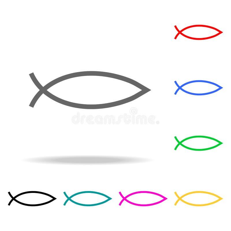 Rybi znak Chrystianizmu Ichthys ryba symbolu ikona Elementy w wielo- barwionych ikonach dla mobilnych pojęcia i sieci apps Ikony  ilustracji
