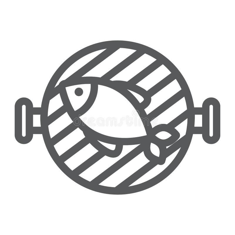 Rybia grill linii ikona, jedzenie i morze, grilla znak, wektorowe grafika, liniowy wzór na białym tle ilustracja wektor