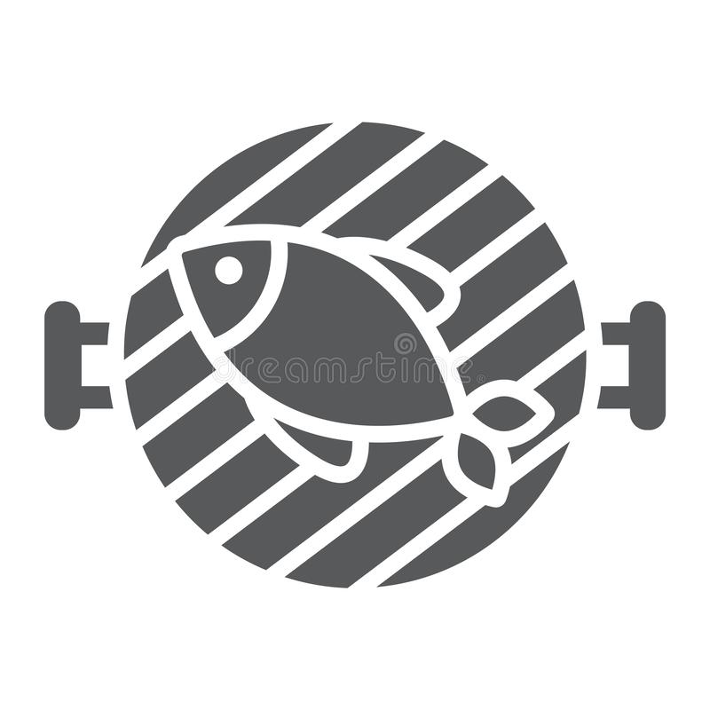 Rybia grilla glifu ikona, jedzenie i morze, grilla znak, wektorowe grafika, bryła wzór na białym tle ilustracja wektor