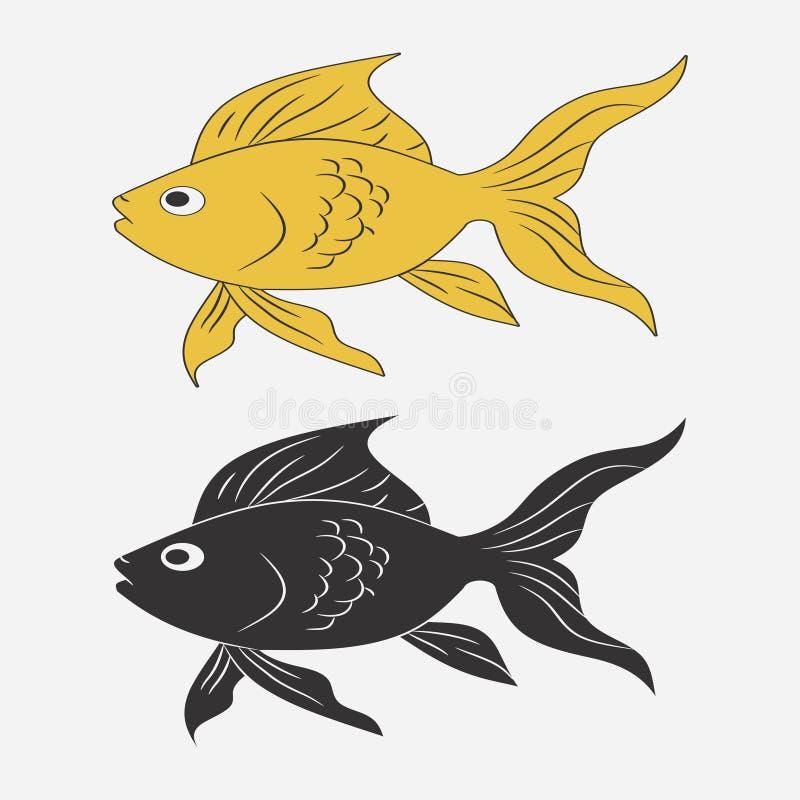 Rybia ikona Kreskówki goldfish z żebrem i plewami wektor ilustracja wektor