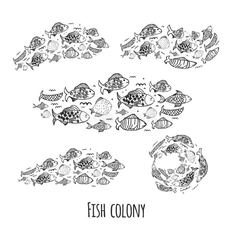 Rybia kolonia ustawiająca z różnymi kształtami w doodle kreskówki stylu ilustracja wektor