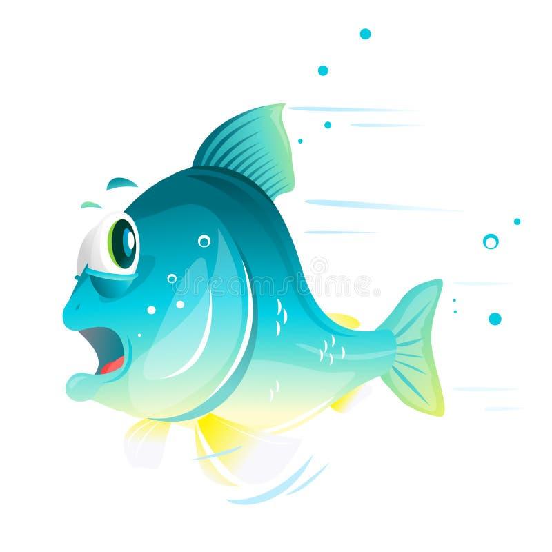 Rybia kreskówka Ucieka Od niebezpieczeństwa ilustracja wektor