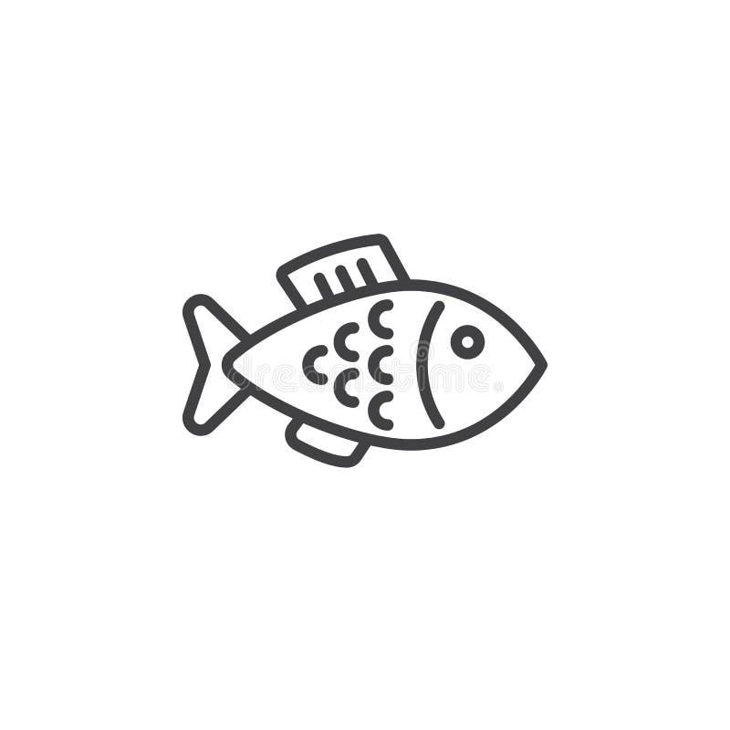 Rybia kreskowa ikona, konturu wektoru znak, liniowy piktogram odizolowywający na bielu royalty ilustracja