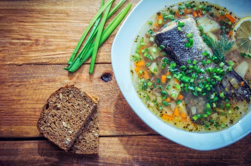 Rybia polewka z łososiowym ogonem, cytryna plasterkiem i cięcie zieloną cebulą w talerzu, zdjęcia royalty free