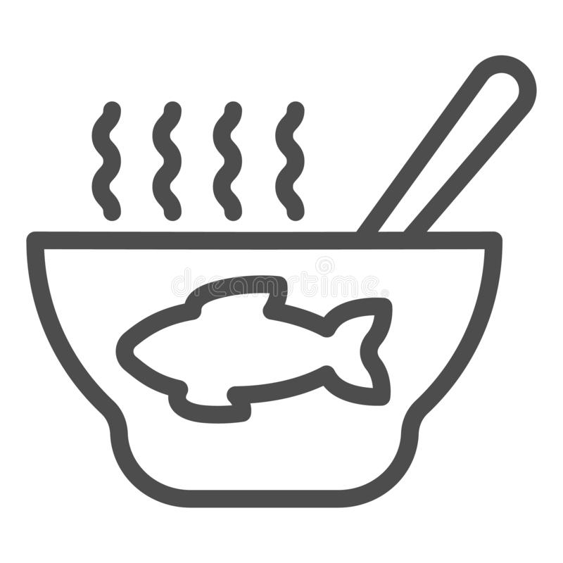 Rybia polewki linii ikona Owoce morza zupna wektorowa ilustracja odizolowywająca na bielu Karmowy konturu stylu projekt, projektu ilustracji