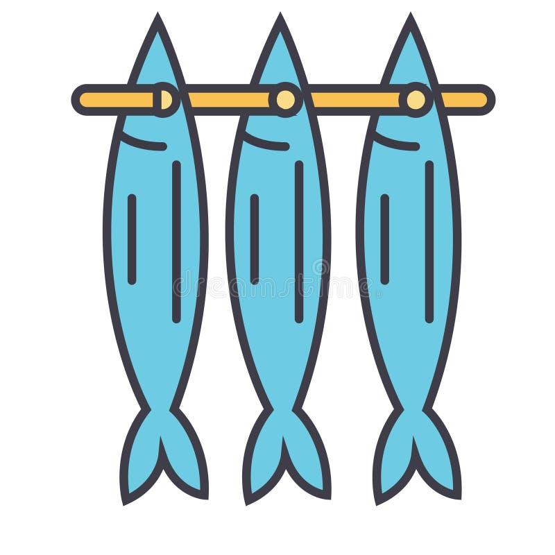 Rybia suszarnicza płaska kreskowa ilustracja, pojęcie wektor odizolowywał ikonę ilustracji