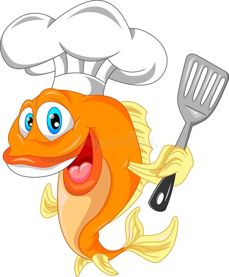 Rybia szef kuchni kreskówka royalty ilustracja