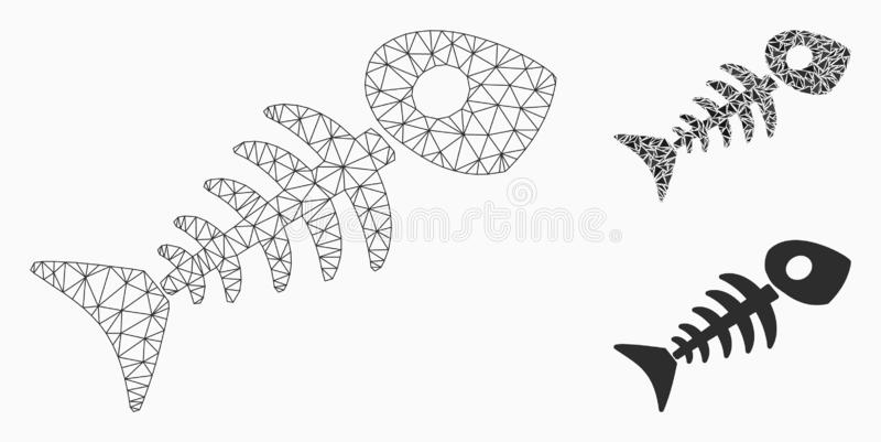 Rybia Zredukowana Wektorowa siatki Drucianej ramy trójboka i modela mozaiki ikona ilustracji